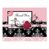 pastel pink damask polka dots Thank you Postcard