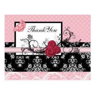 pastel pink damask polka dots Thank you Postcard