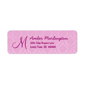 Pastel Pink Damask Wedding R771 Custom Return Address Label