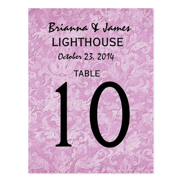 Pastel Pink Damask Wedding Table Number Card