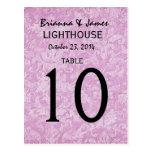 Pastel Pink Damask Wedding Table Number Card Post Cards