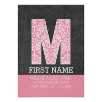 Pastel Pink Damasks Baby Announcement Stats Poster