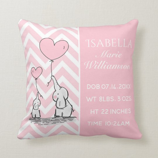 3d591c5fef9b2 Pastel Pink Elephant Personalized Baby Girl Birth Throw Pillow