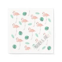 Pastel pink flamingo tropical leaf watercolor napkin