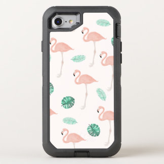 Pastel pink flamingo tropical leaf watercolor OtterBox defender iPhone 7 case