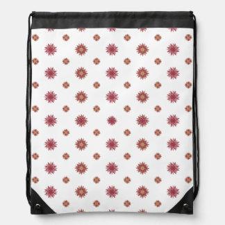 Pastel Pink Flower Stars Drawstring Backpack