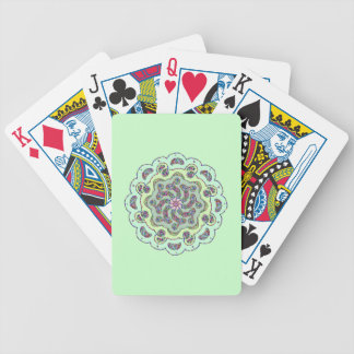 Pastel Pink Flower Symmetrical Design Bicycle Playing Cards