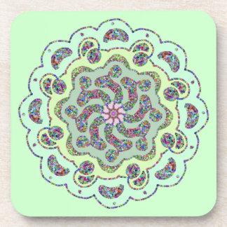 Pastel Pink Flower Symmetrical Design Coaster