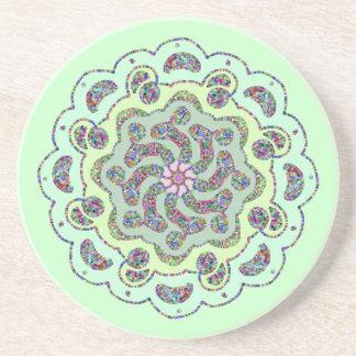 Pastel Pink Flower Symmetrical Design Sandstone Coaster