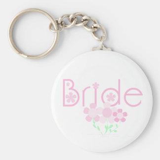 Pastel Pink Flowers Bride Keychain