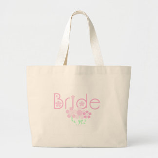 Pastel Pink Flowers Bride Large Tote Bag