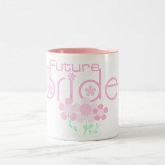 Pastel Pink Flowers Future Bride Two-Tone Coffee Mug