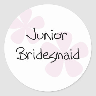 Pastel Pink Flowers Jr. Bridesmaid Classic Round Sticker