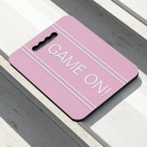 Pastel Pink GAME ON Quote Initials Stadium Sports Seat Cushion