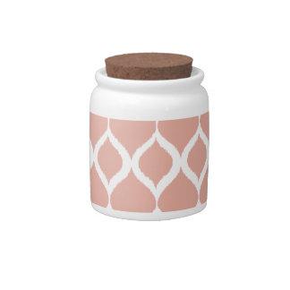 Pastel Pink Geometric Ikat Tribal Print Pattern Candy Dish