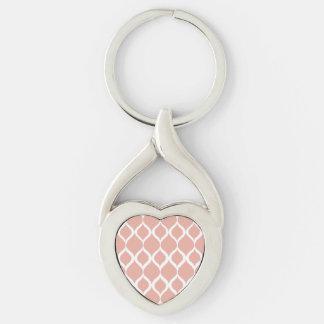 Pastel Pink Geometric Ikat Tribal Print Pattern Keychain