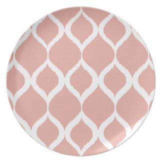 Pastel Pink Geometric Ikat Tribal Print Pattern Melamine Plate