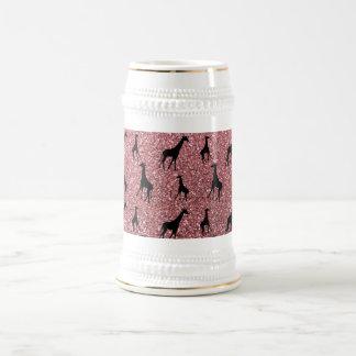 Pastel pink giraffe glitter pattern 18 oz beer stein