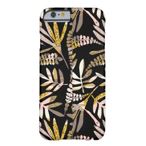 Pastel Pink Glack Gold Glitter Modern Floral Plant Barely There iPhone 6 Case