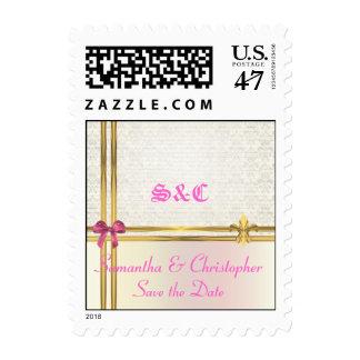 Pastel pink & gold on damask postage