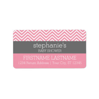 Pastel Pink & Gray Chevrons Baby Shower Collection Address Label