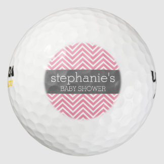 Pastel Pink & Gray Chevrons Baby Shower Collection Pack Of Golf Balls