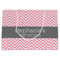 Pastel Pink & Gray Chevrons Baby Shower Collection Large Gift Bag