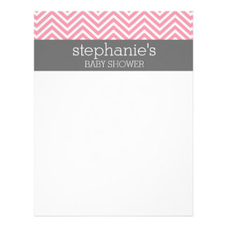 Pastel Pink & Gray Chevrons Baby Shower Collection Letterhead
