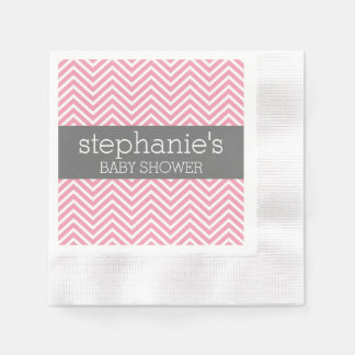 Pastel Pink & Gray Chevrons Baby Shower Collection Paper Napkins