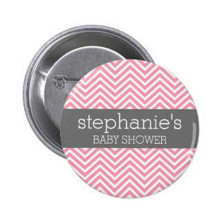 Pastel Pink & Gray Chevrons Baby Shower Collection Pinback Button