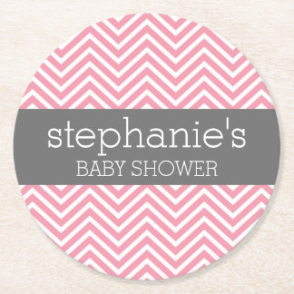 Pastel Pink & Gray Chevrons Baby Shower Collection Round Paper Coaster
