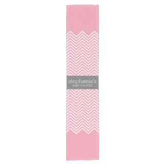 Pastel Pink & Gray Chevrons Baby Shower Collection Short Table Runner