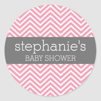 Pastel Pink & Gray Chevrons Baby Shower Collection Classic Round Sticker