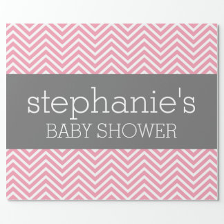 Pastel Pink & Gray Chevrons Baby Shower Collection Wrapping Paper