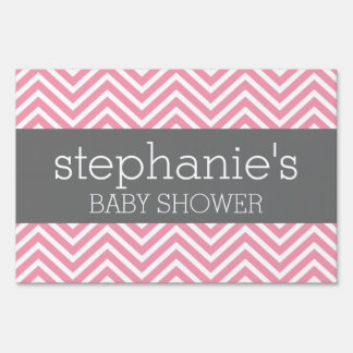 Pastel Pink & Gray Chevrons Baby Shower Collection Yard Sign