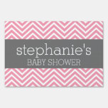 Pastel Pink & Gray Chevrons Baby Shower Collection Sign