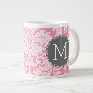 Pastel Pink & Gray Damask Pattern Custom Monogram 20 Oz Large Ceramic Coffee Mug