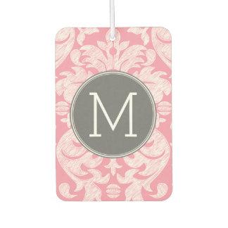 Pastel Pink & Gray Damask Pattern Custom Monogram Car Air Freshener