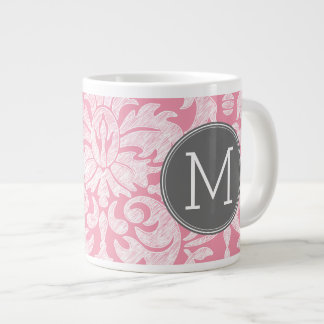 Pastel Pink & Gray Damask Pattern Custom Monogram Large Coffee Mug