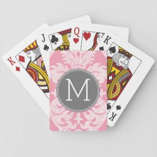 Pastel Pink & Gray Damask Pattern Custom Monogram Playing Cards