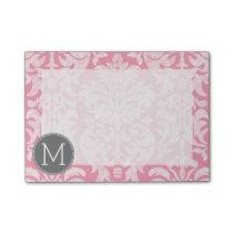 Pastel Pink & Gray Damask Pattern Custom Monogram Post-it Notes
