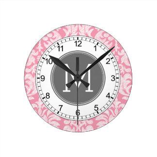 Pastel Pink & Gray Damask Pattern Custom Monogram Round Clock