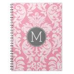Pastel Pink & Gray Damask Pattern Custom Monogram Spiral Note Books
