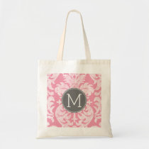 Pastel Pink & Gray Damask Pattern Custom Monogram Tote Bag