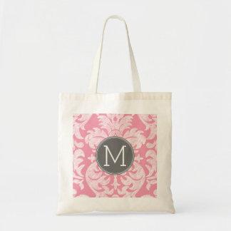 Pastel Pink & Gray Damask Pattern Custom Monogram Tote Bag