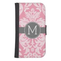 Pastel Pink & Gray Damask Pattern Custom Monogram Wallet Phone Case For Samsung Galaxy S4