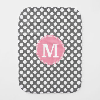 Pastel Pink & Gray Polka Dots with Custom Monogram Baby Burp Cloth