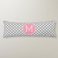 Pastel Pink & Gray Polka Dots with Custom Monogram Body Pillow