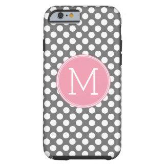 Pastel Pink & Gray Polka Dots with Custom Monogram Tough iPhone 6 Case