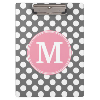 Pastel Pink & Gray Polka Dots with Custom Monogram Clipboard